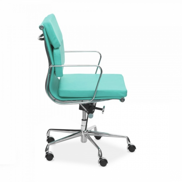 Silla de oficina eames executive soft pad respaldo bajo for Sillas color turquesa