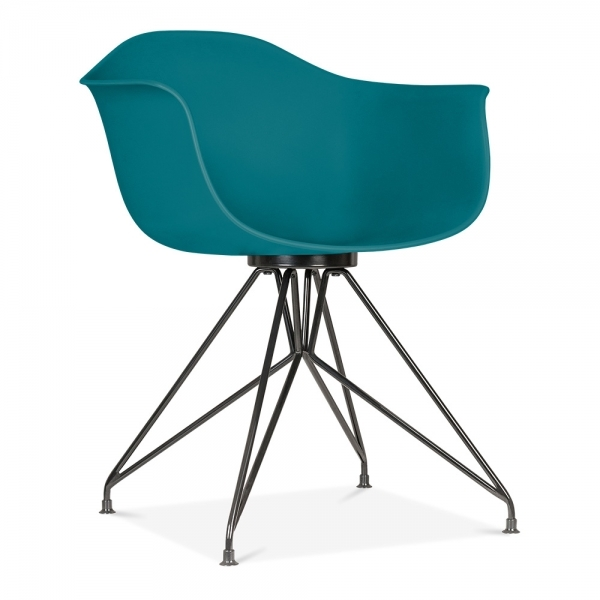 Silla moda cd1 con reposabrazos de cult design en azul for Sillas comedor con reposabrazos