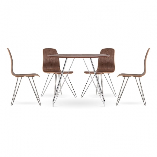 Cult Living Set de comedor Björn - 1 mesa y 4 sillas - Nogal