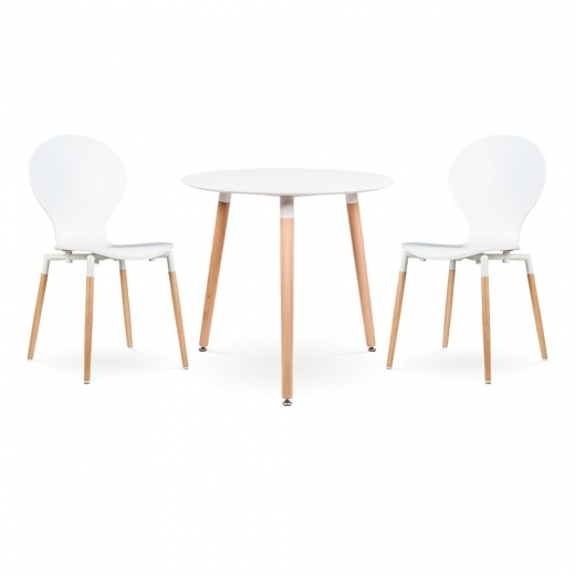 Cult Living Set de comedor  Edelweiss y Novel en blanco - 1 mesa redonda y 2 sillas
