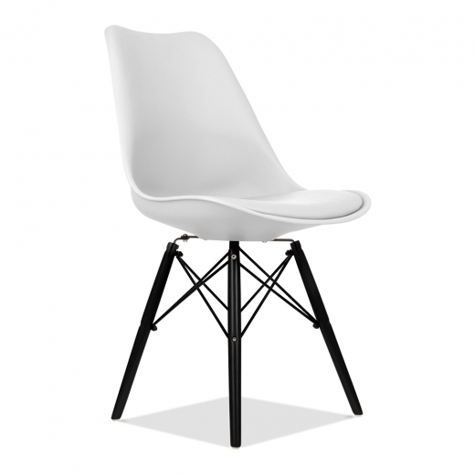 Cult Furniture ES Silla estilo Eames - blanca con patas DSW de madera | Cult Furniture