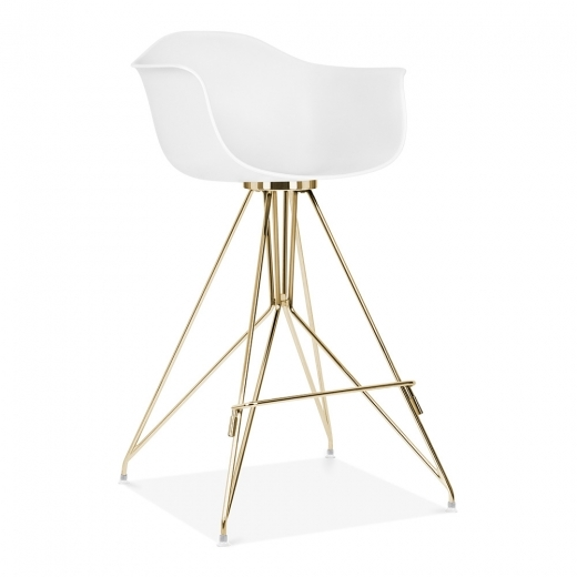 Cult Design Taburete de Bar Moda con Reposabrazos CD1 - Blanco 74cm