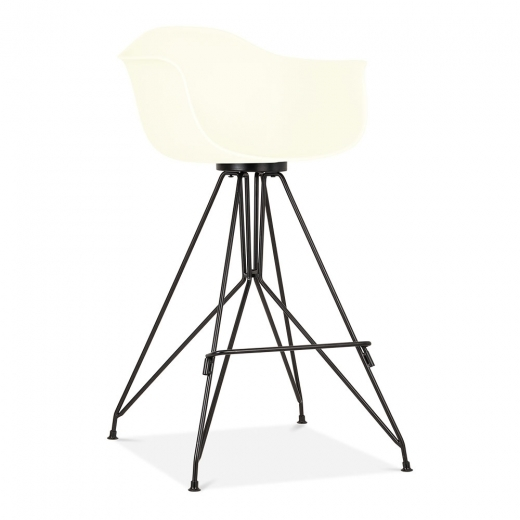 Cult Design Taburete de Bar Moda con Reposabrazos CD1 - Blanco Roto