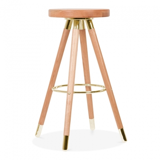 Cult Studio Taburete de Bar Moda CD2, Madera Maciza, Natural 75cm