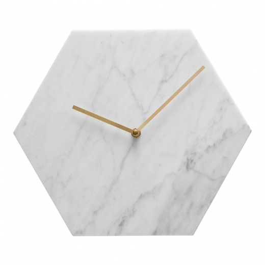 Cult Living Reloj de Pared de Mármol Hexagonal, Blanco y Bronce