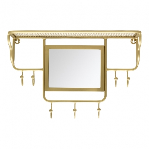 Cult Living Avery Wall Mounted Coat Rack with Mirror, Brass