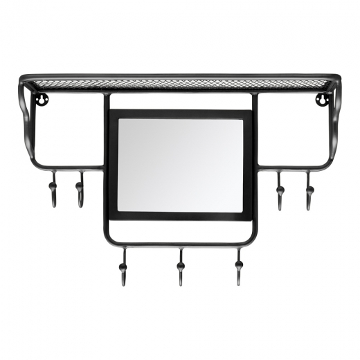Cult Living Avery Wall Mounted Coat Rack with Mirror, Black