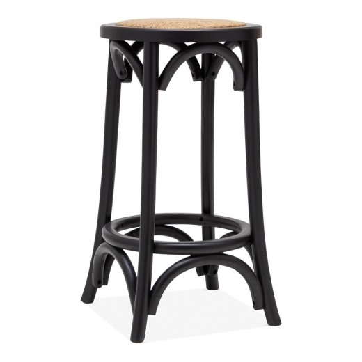 Cult Living Taburete de Bar de Madera Harrington, Asiento de Ratán Natural, Negro 66cm