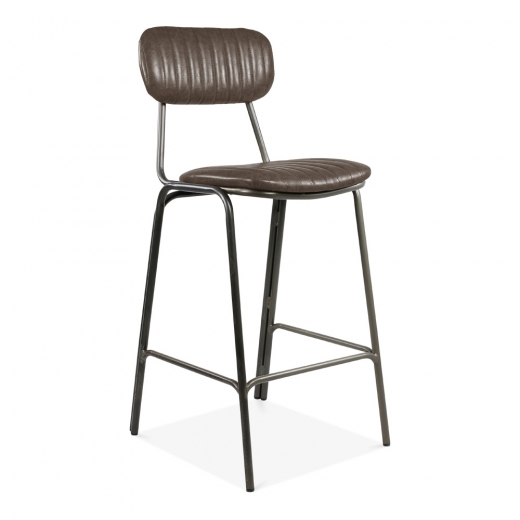 Cult Living Silla de Bar Boston de Metal, Tapizada en Cuero Sintético, Marrón 75cm