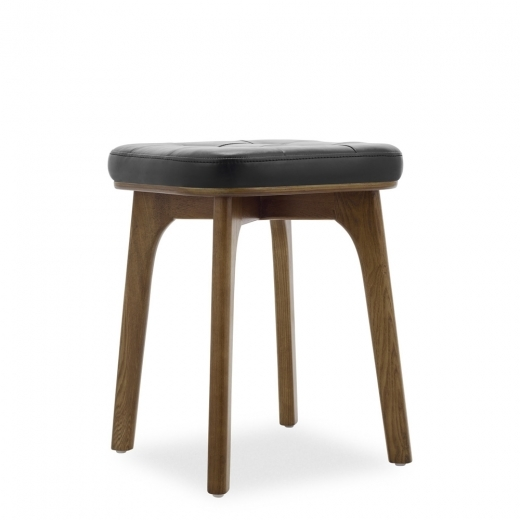 Cult Living Winchester Wooden Low Stool, Faux Leather Upholstered, Black 45cm
