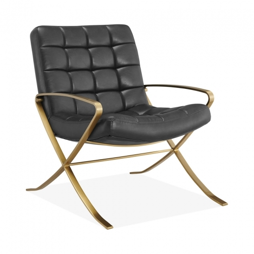 Cult Living Barbican Lounge Chair, Faux Leather Upholstered, Vintage Black