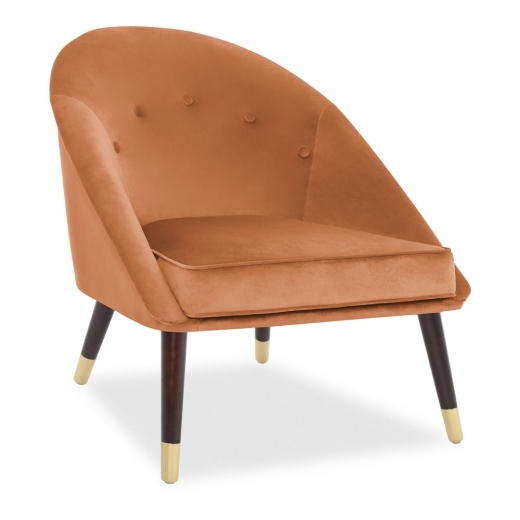 Aveley Accent Chair, Velvet Upholstered, Burnt Orange