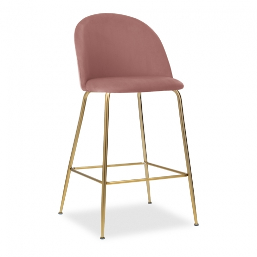 Cult Studio Heather Bar Stool with Backrest, Velvet Upholstered, Rose Pink, 65cm