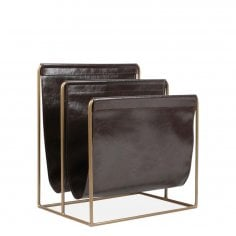 Toya Faux Leather Double Pocket Magazine Rack, Brown