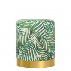 Marie Tall Stool, Fabric Upholstered, Green Palm Leaf