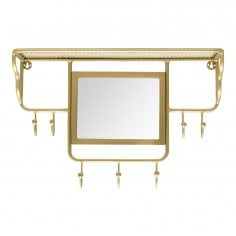 Avery Wall Mounted Coat Rack with Mirror, Brass