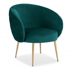 Ella Accent Chair, Velvet Upholstered, Teal