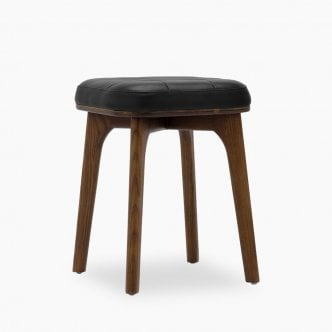 Winchester Wooden Low Stool, Faux Leather Upholstered, Black 45cm