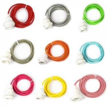 Cable de colores con portalámparas E27 e interruptor - 2.5m