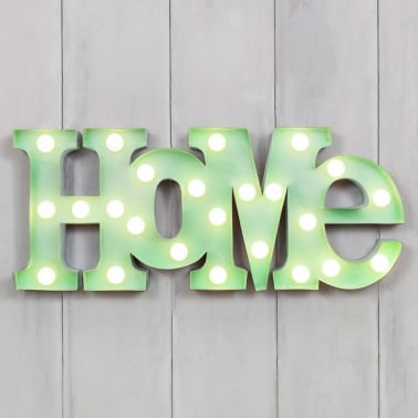 Rótulo Luminoso Metal LED HOME - Verde