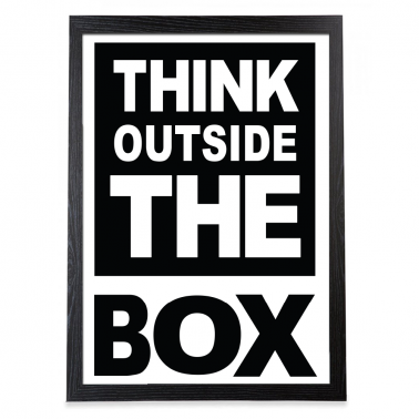 "Poster ""Outside the box"" enmarcado en negro"