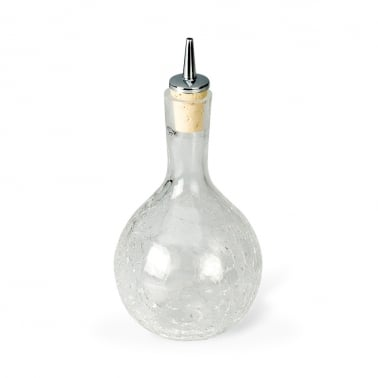 Round Dash Bottle With Crackle Glass