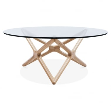 Star Glass Top Coffee Table - Madera Natural 100cm