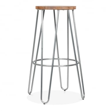 Hairpin Stool with Wood Seat Option - Galvanised 76cm