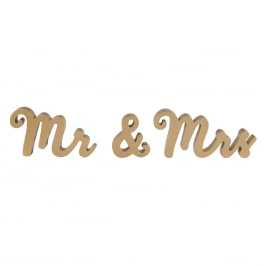 Mr & Mrs de Pie Letras de Madera, Oro