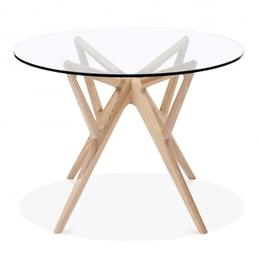 Hawkin Glass Top Dining Table, Solid Ash Wood, Natural