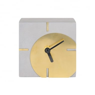 Zuma Square Concrete Desk Clock, Grey and Gold