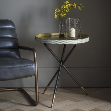 Lily Contemporary Tripod Side Table, Black and Gold