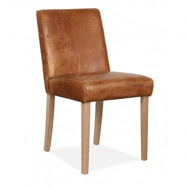 Tobin Dining Chair, Leather Upholstered, Tan