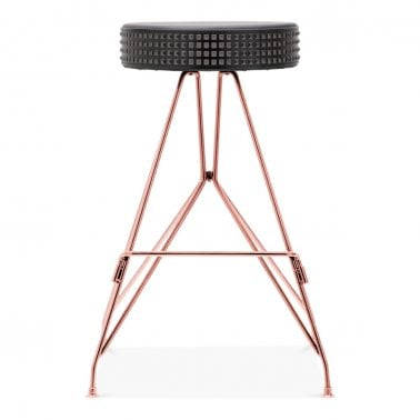 Moda Metal Bar Stool CD1, Faux Leather Stud Seat, Cobre 66cm