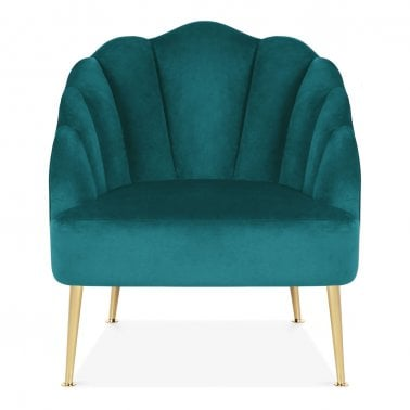 Evelyn Accent Chair, Velvet Upholstered, Azul Verdoso