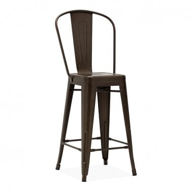 Tolix Style Metal Bar Stool with Extra High Backrest, Rustic 65cm