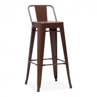 Tolix Style Metal Bar Stool with Low Back Rest, Carlisle Copper 75cm