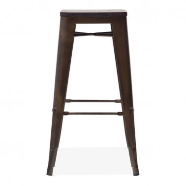 Tolix Style Metal Bar Stool with Dark Wood Seat, Bronze 75cm