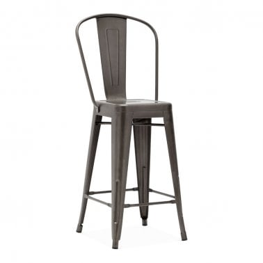 Tolix Style Metal Bar Stool with Extra High Backrest, Gunmetal 65cm