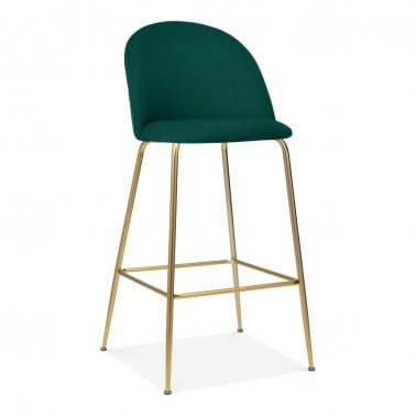 Heather Bar Stool with Backrest, Velvet Upholstered, Teal 75cm