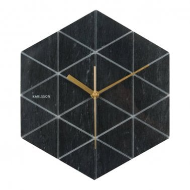 Reloj de Pared de Mármol Hexagonal, Negro