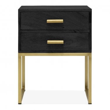 Orson Industrial Side Table with 2 Drawers, Black
