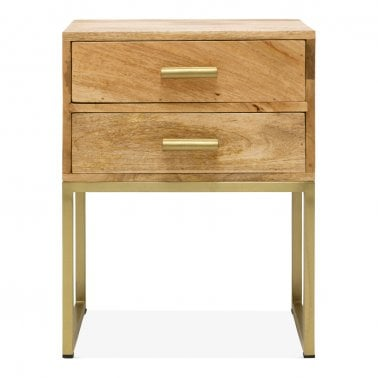 Orson Industrial Side Table with 2 Drawers, Natural