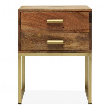 Orson Industrial Side Table with 2 Drawers, Brown