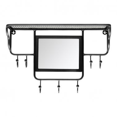 Avery Wall Mounted Coat Rack with Mirror, Black