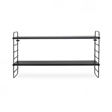 Metal 2 Tier Wall Shelf, Black
