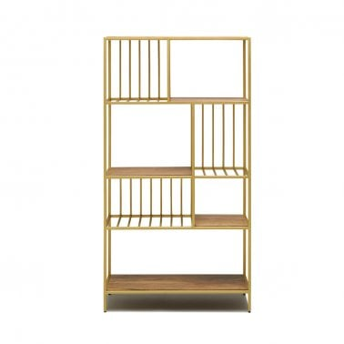 Sydell Open Shelving Unit, Natural Wood and Brass
