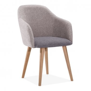 Primrose Dining Armchair, Fabric Upholstered, Light Grey