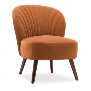 Sofia Accent Chair, Velvet Upholstered, Burnt Orange