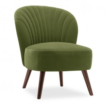Sofia Accent Chair, Velvet Upholstered, Moss Green